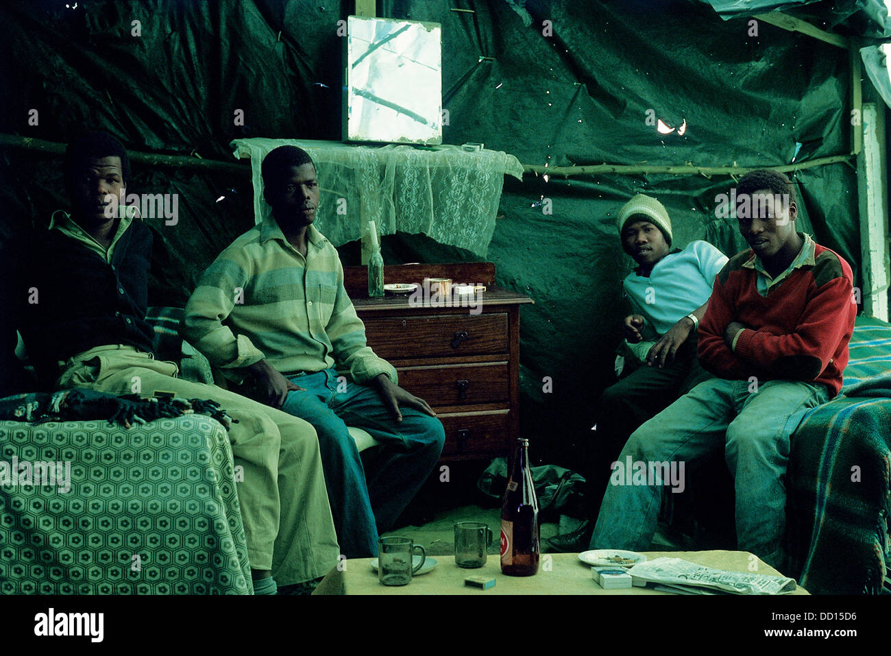During apartheid years 'shebeens' in squatter camps were simply temporary makeshift homes hastily erected with materials - Stock Image