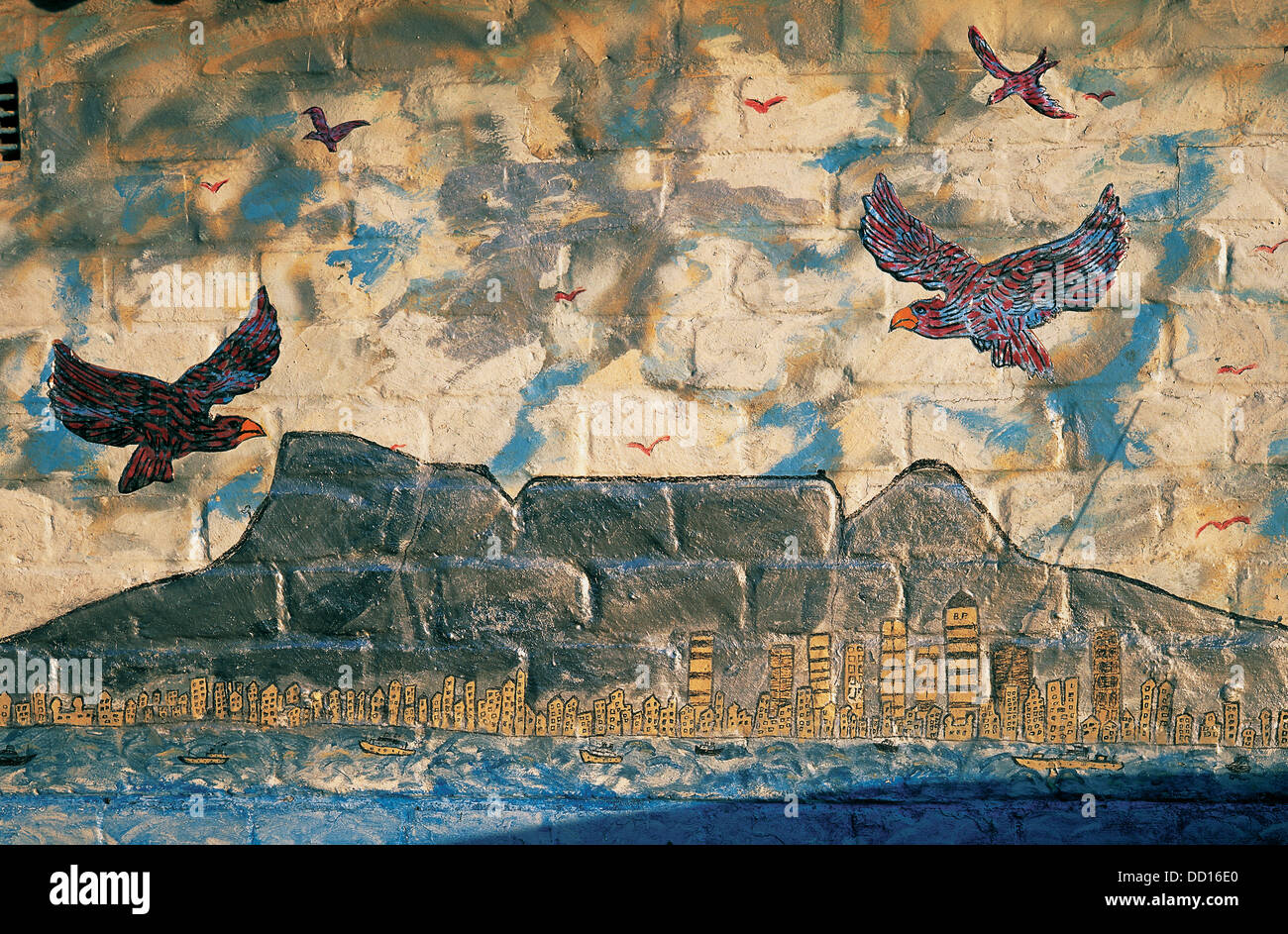 A classic view 'Moeder Stad'  depicted here in a mural by retired truck driver Edward Brucker It echoes efforts - Stock Image