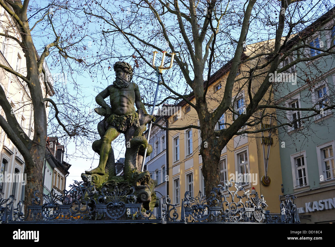 Statue of Neptune (Roman God of water and the sea), Bamberg, Bavaria, Germany, Europe. - Stock Image