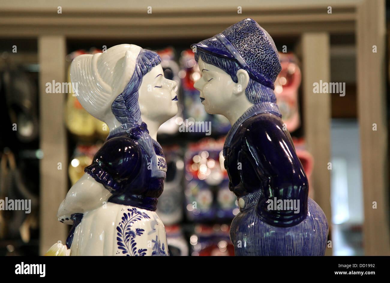 Love Puppets.Dutch folklore.Delft pottery.Delft ware.Delft blue.Netherlands. - Stock Image