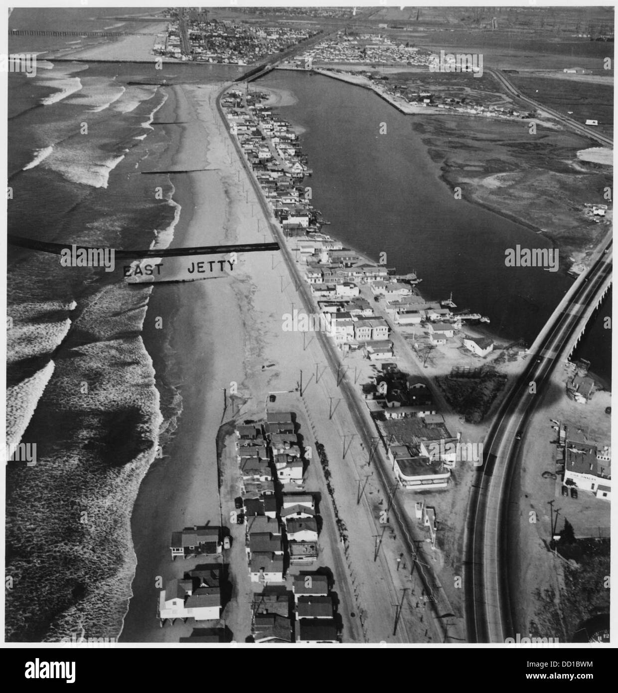 Naval Ammunition and Net Depot, Seal Beach, California. (Aerial view of jetty and coastline.) - - 295515 - Stock Image