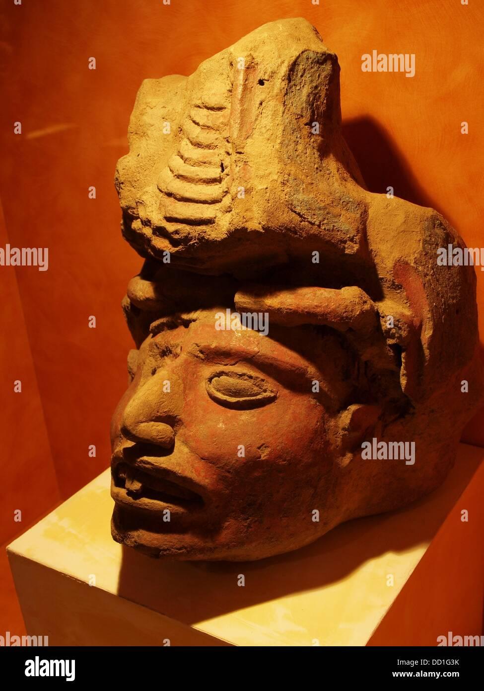 Aztec personage. Museo Nacional de Antropología. Mexico City. Mexico - Stock Image