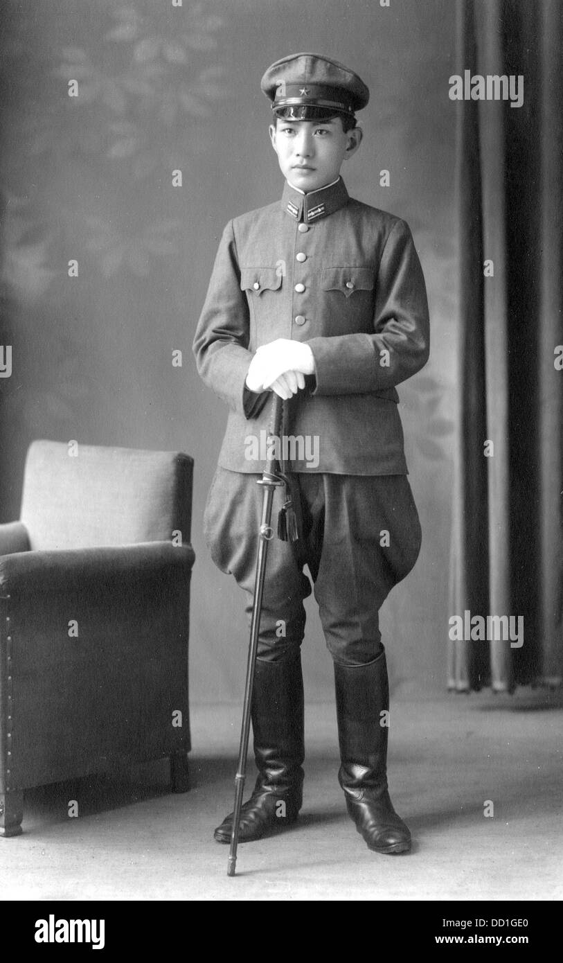 A Japanese officer in best uniform with sword 1930s 1940s - Stock Image