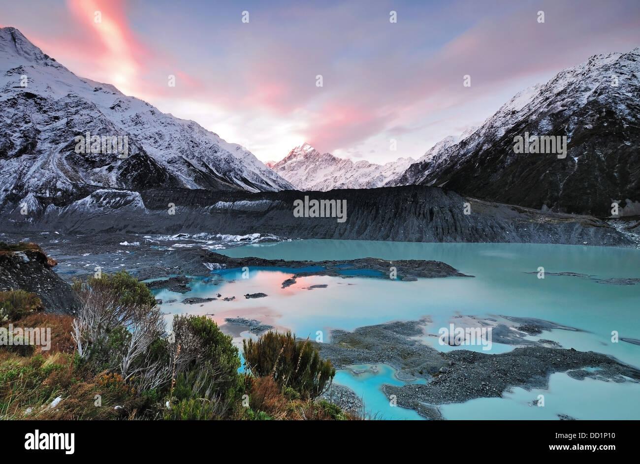 Sunset at Mueller Glacier Aoraki Mt Cook National Park, South Island, New Zealand - Stock Image