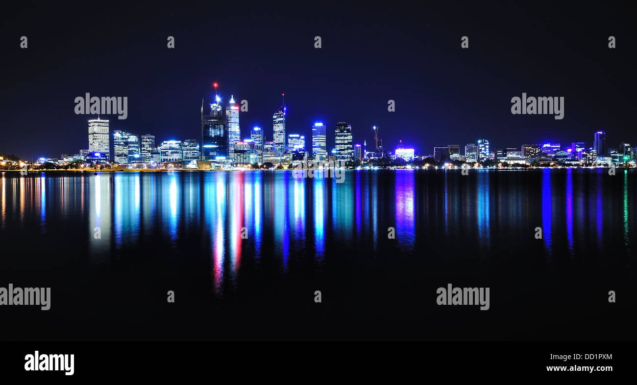 Perth Skyline and Reflection, Western Australia. Stock Photo