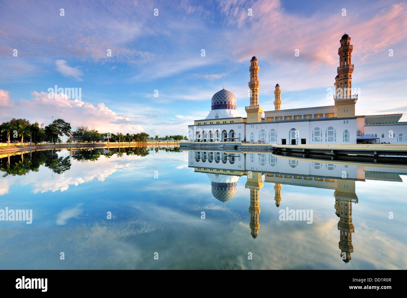 Kota Kinabalu Floating Mosque and Reflection - Stock Image