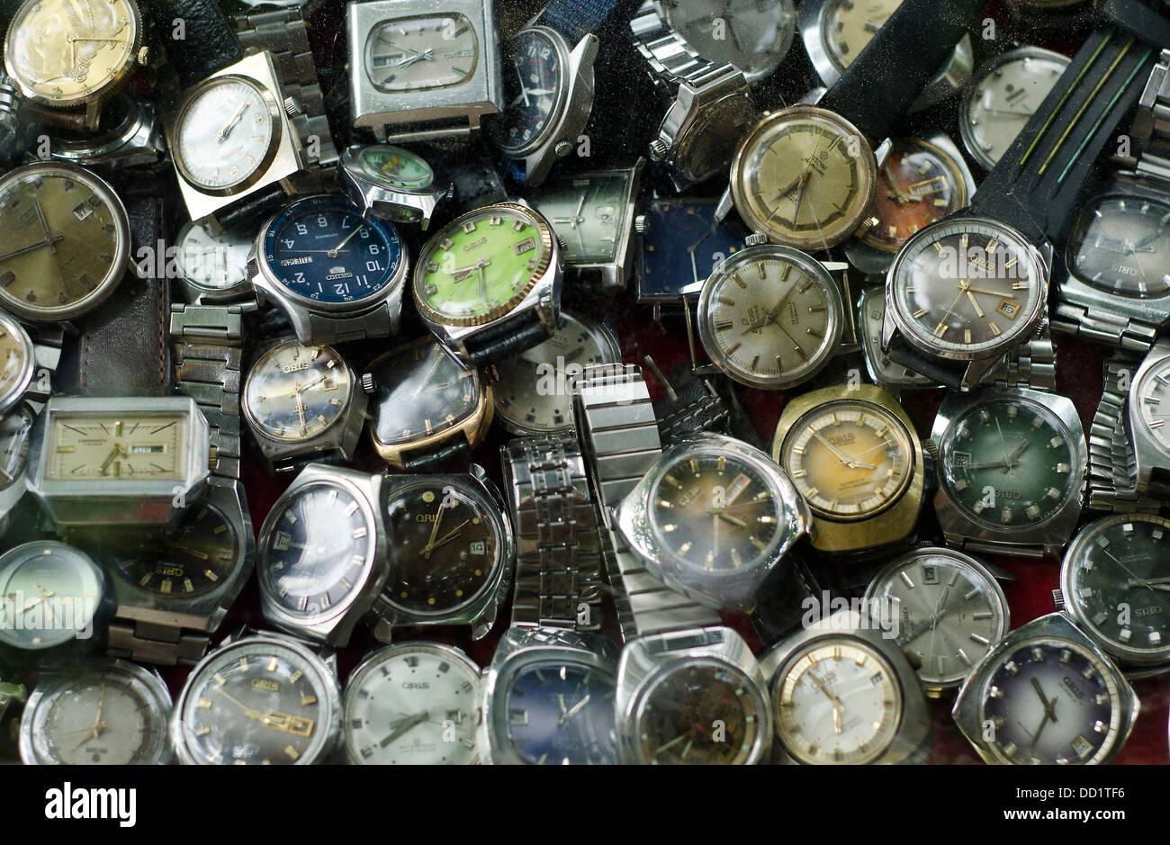Bangkok , China town , old watches Stock Photo