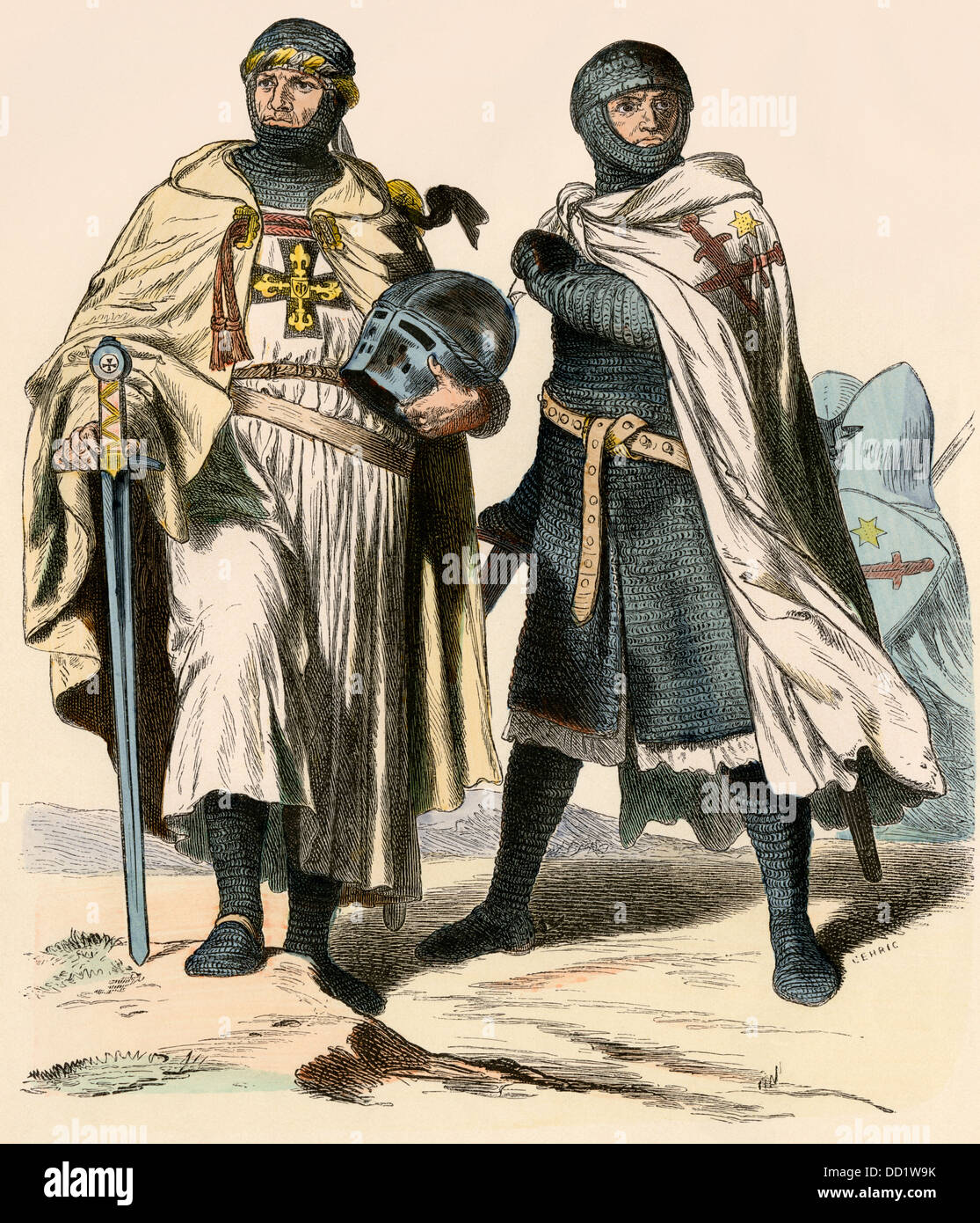 Teutonic Knights during the time of the Crusades. Hand-colored print - Stock Image