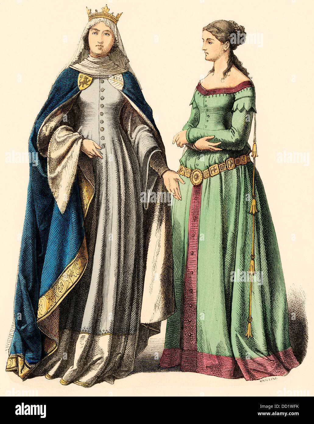 German princess and a lady, 1300s Hand-colored print - Stock Image
