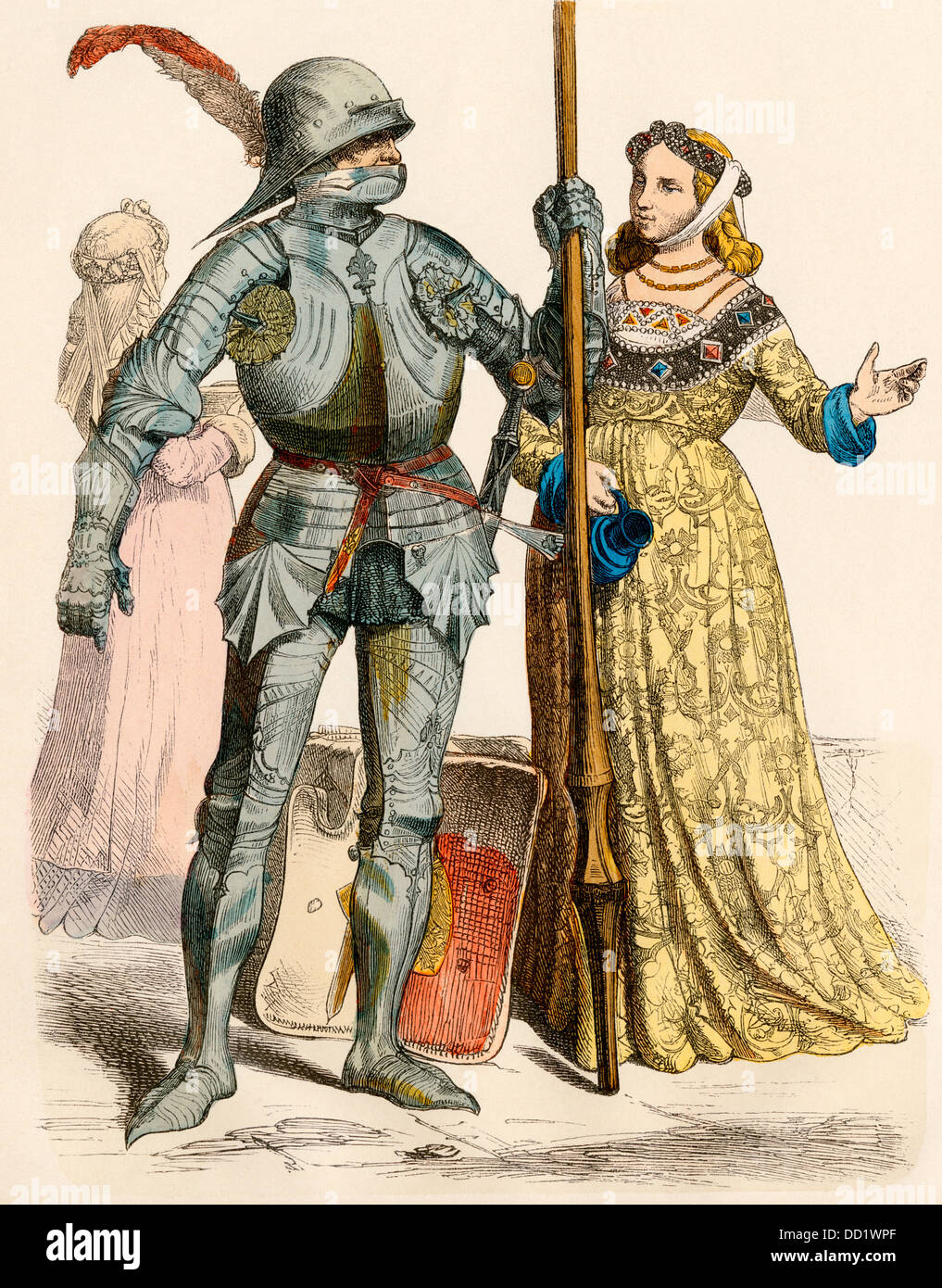 german knight in armor and a lady mid 1400s hand colored print
