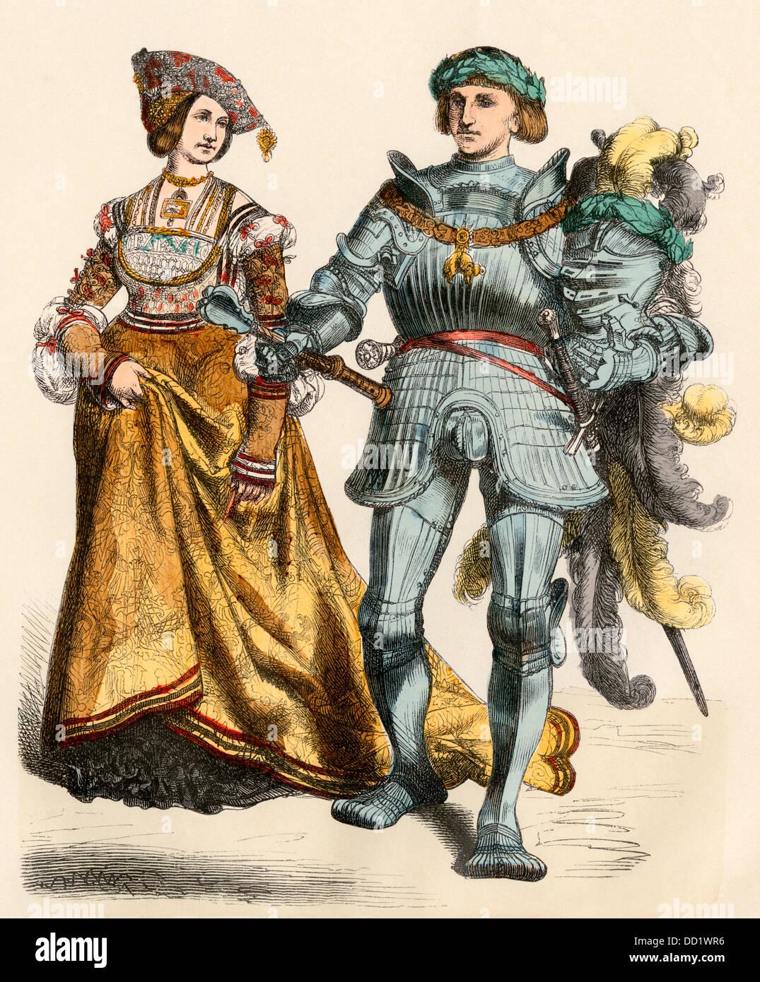 German prince and princess, 1500s. Hand-colored print - Stock Image