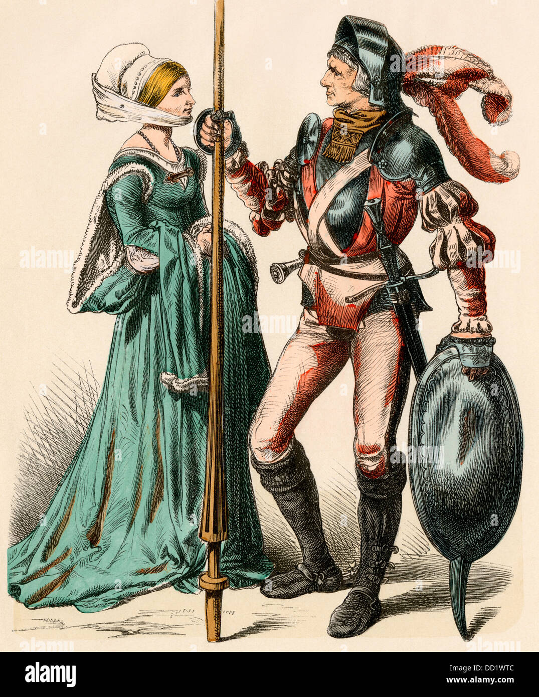 German woman and a man wearing armor of the early 1500s. Hand-colored print - Stock Image