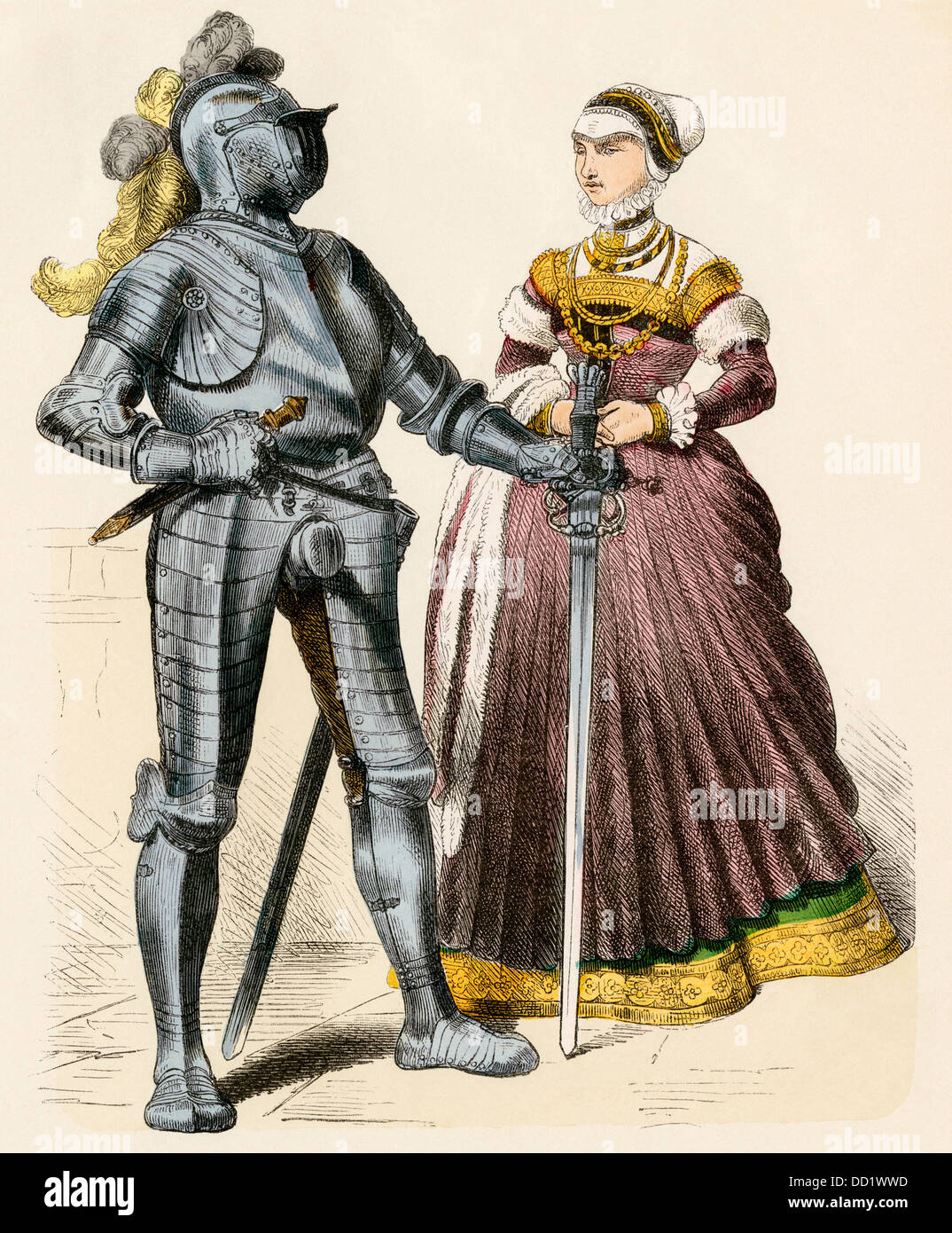 German knight and a lady of the late 1500s. Hand-colored print - Stock Image