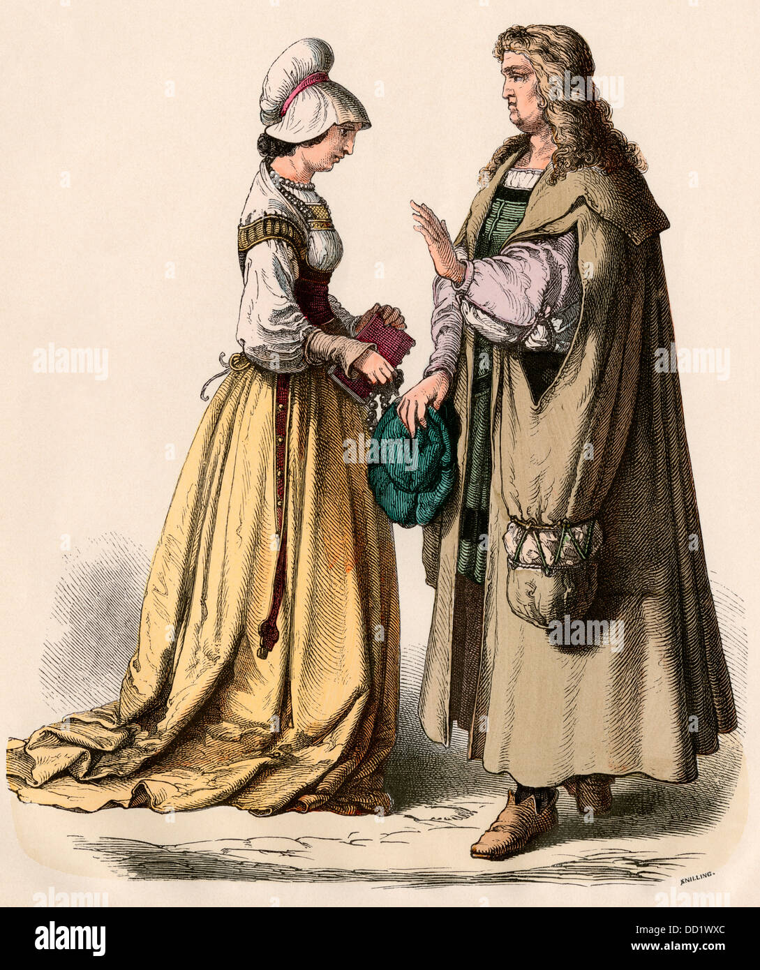 German scholar and a woman with a book, 1500s. Hand-colored print - Stock Image