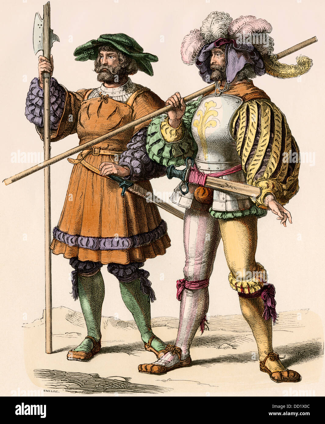 Servants or guards of a German country estate, 1500s. Hand-colored print - Stock Image