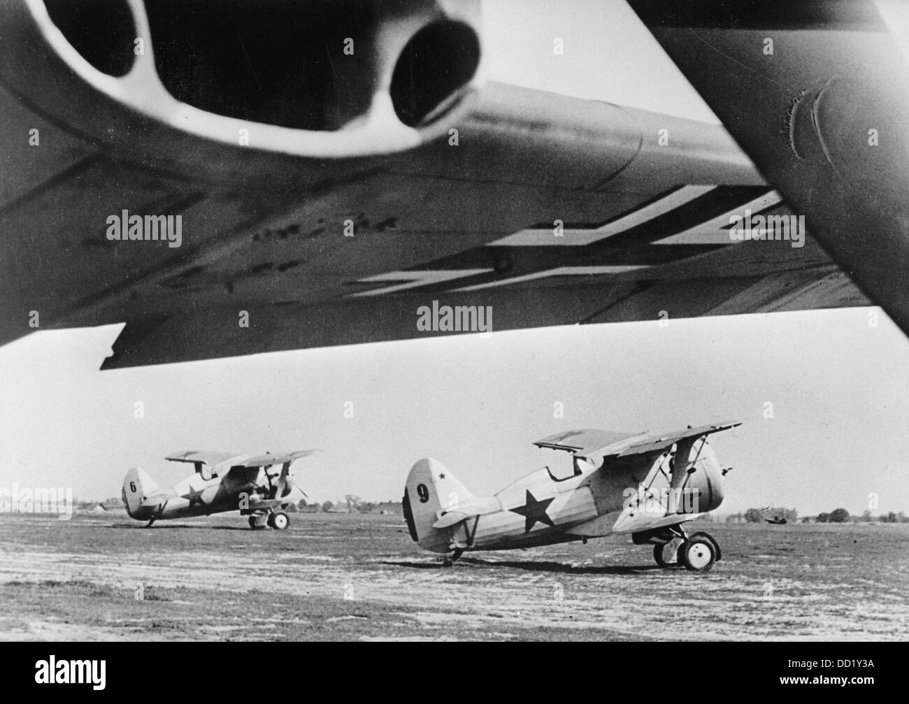 "The Nazi Propaganda! on the back of the image reads: ""Two Soviet fighter airplanes fell into our clutches on an Stock Photo"