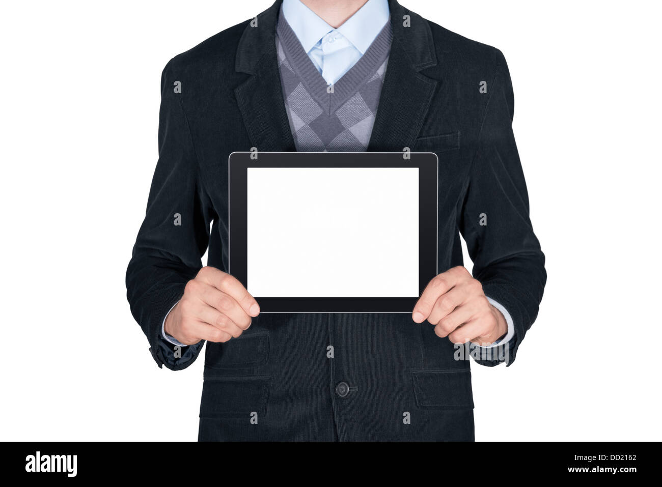 Young man in black suit showing modern digital tablet with blank screen. Isolated on white background Stock Photo