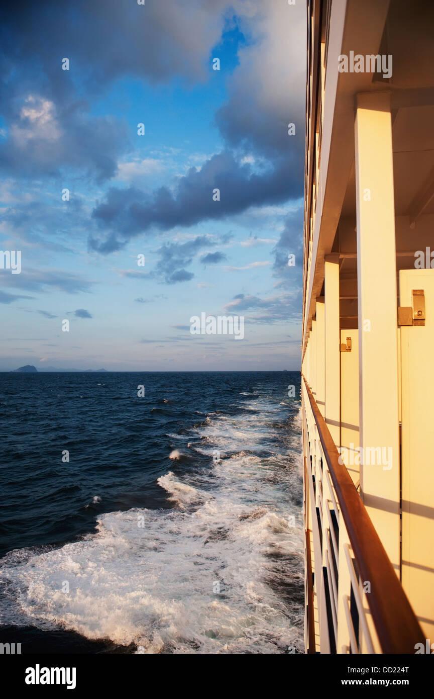 Side Of Cruise Ship On East China Sea; China - Stock Image