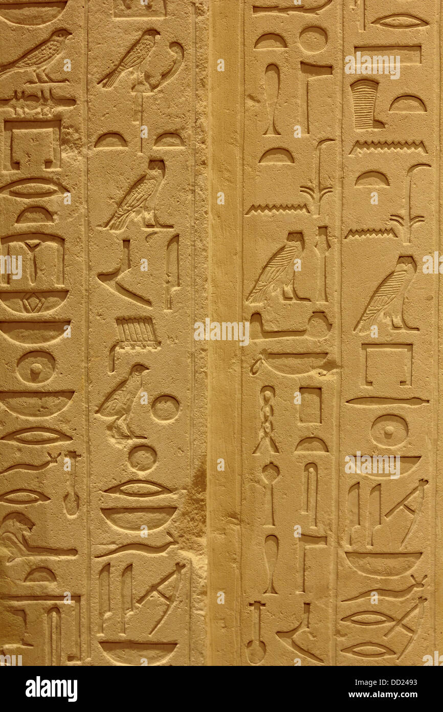 A closeup shot of Egyptian hieroglyphs from an ancient artifact preserved in Berlin Museum. - Stock Image