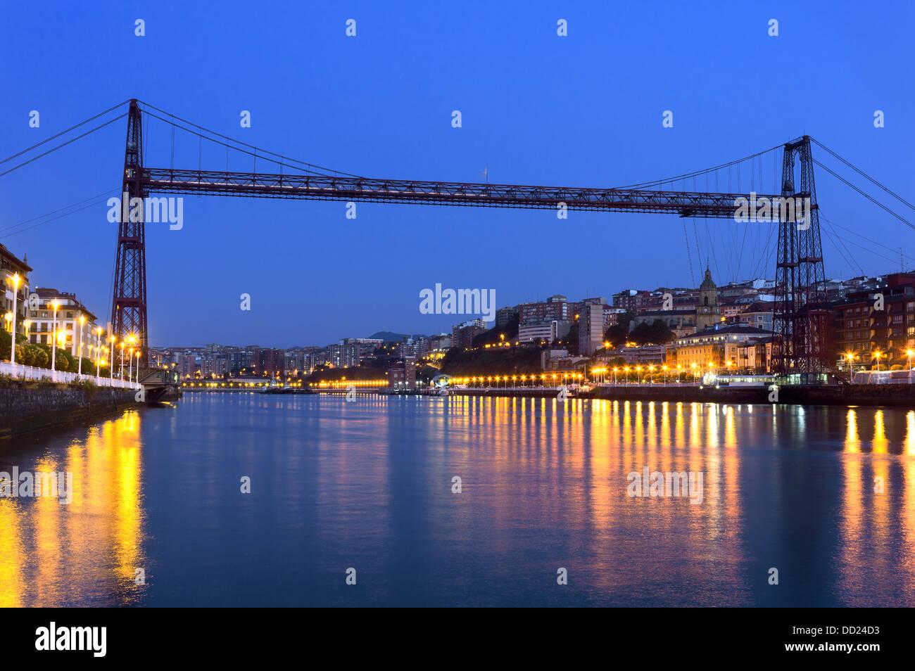 Hanging bridge between Portugalete and Getxo. Vizcaya, Basque Country, Spain - Stock Image