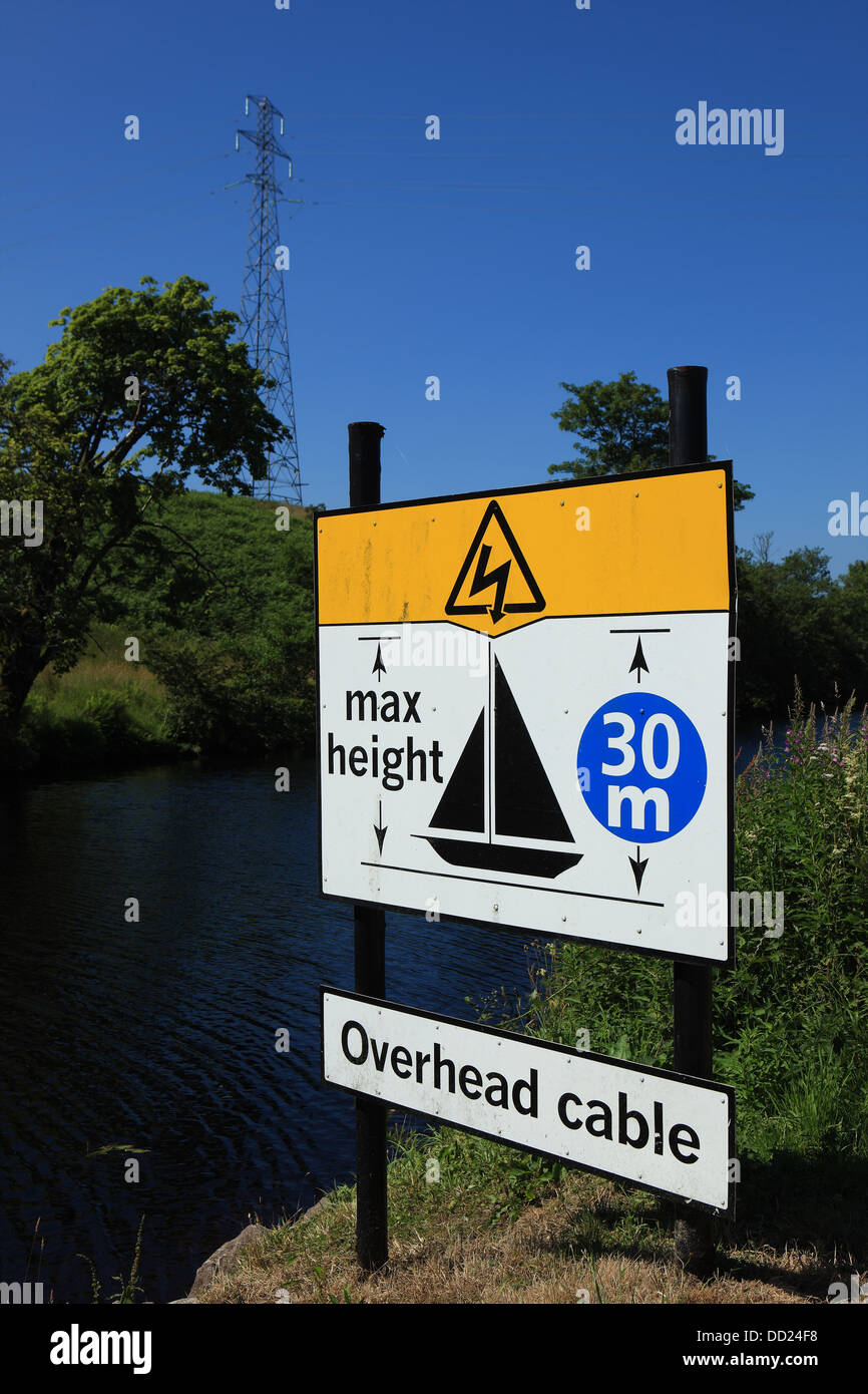 Warning sign for yacht owners advising of overhead cables on the Crinan Canal in Scotland - Stock Image
