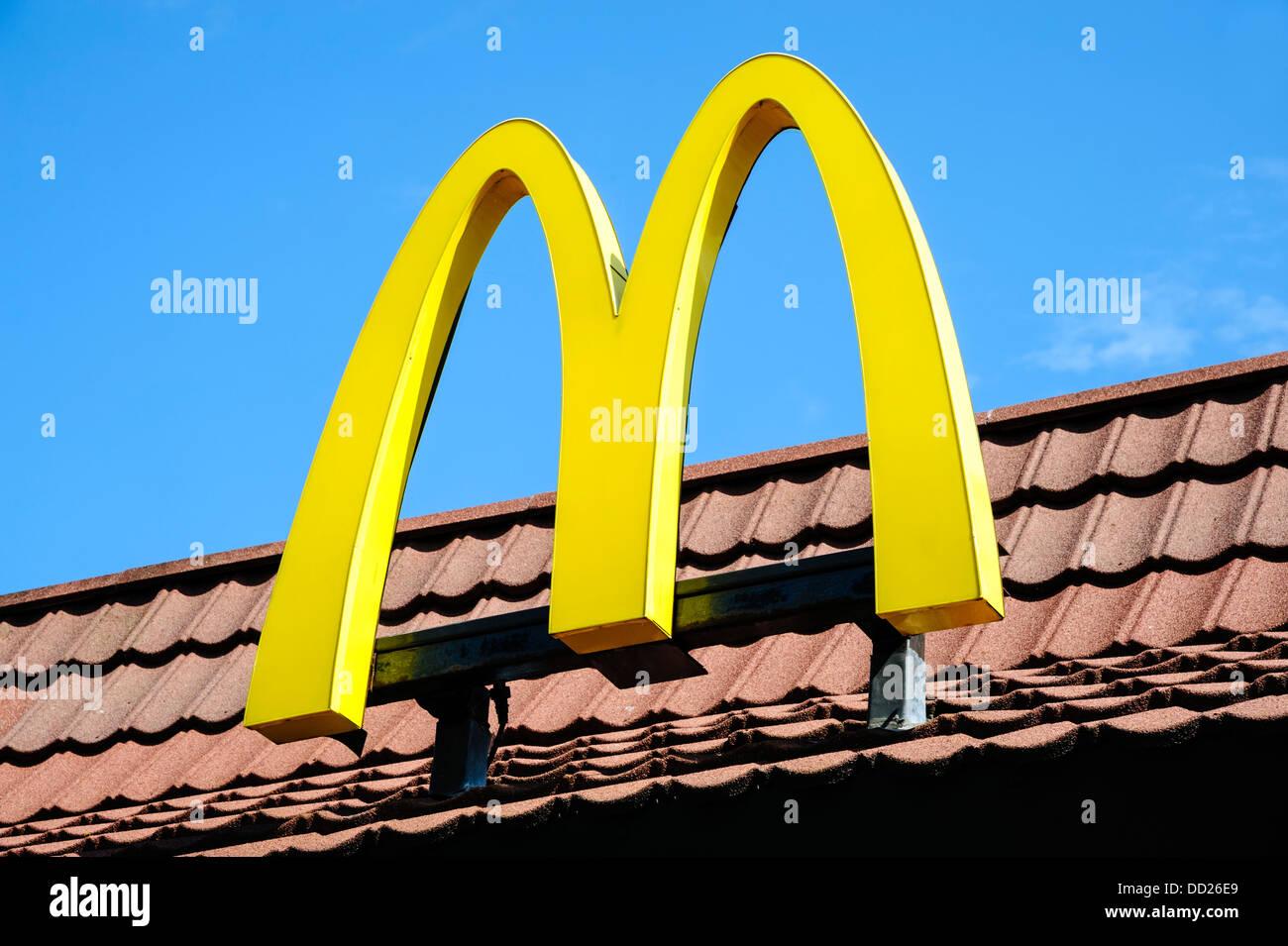 McDonalds restaurant sign, UK. - Stock Image