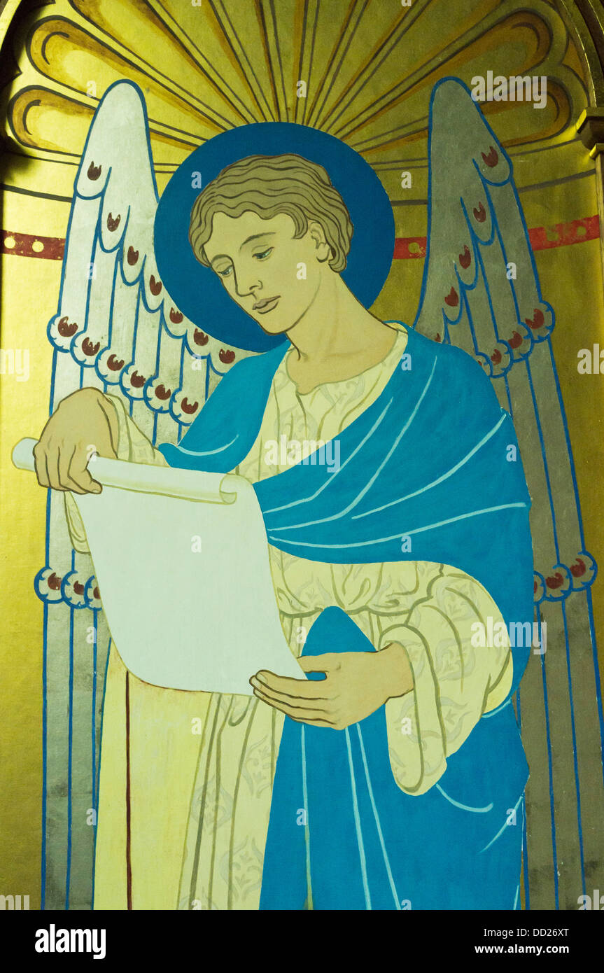 Picture Of An Angel Reading From A Scroll At St Michaels And All Saints; Howick, Northumberland, England Stock Photo