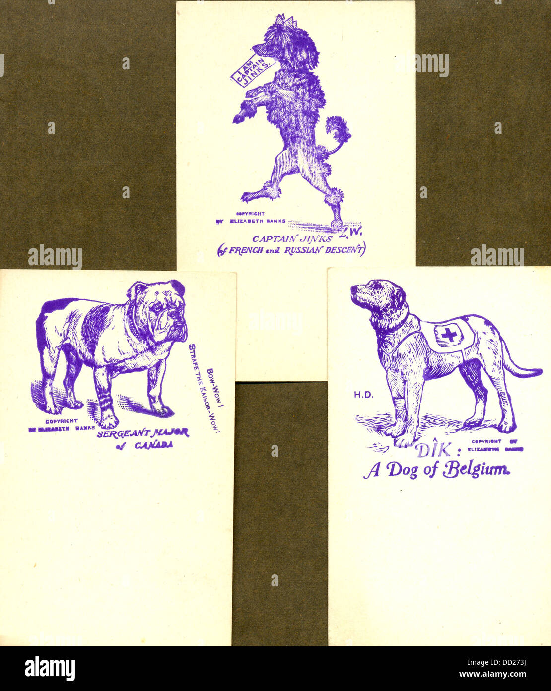 World War One writing paper showing dogs of British  allies - Stock Image
