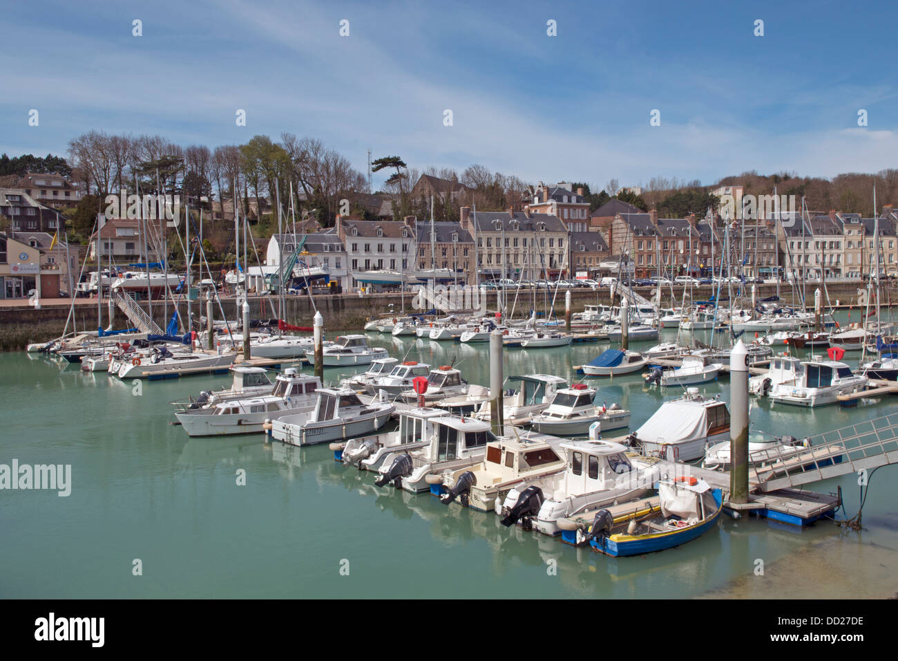 Harbour at St Valery en Caux in the Seine Maritime (76) departement of France - Stock Image