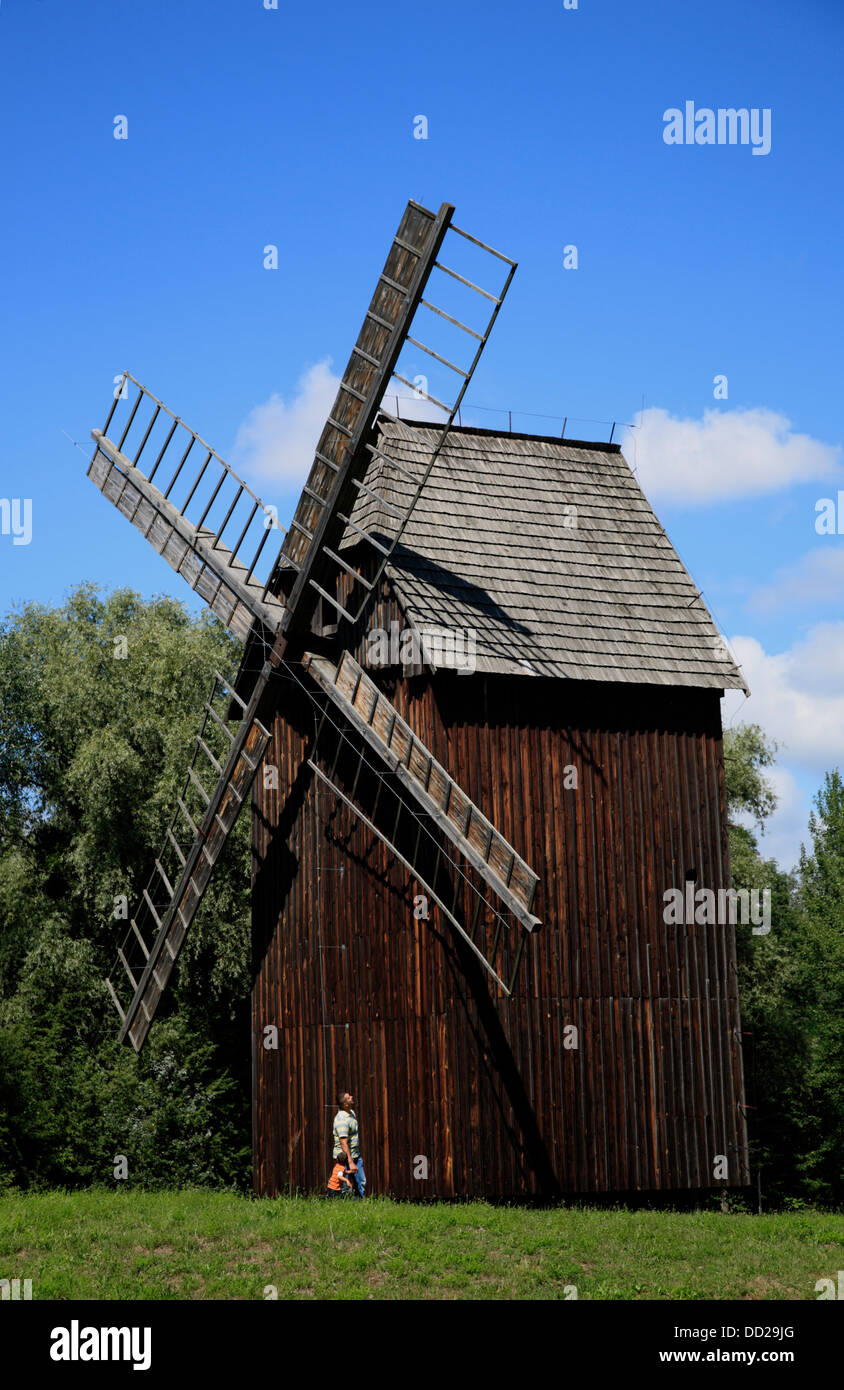 Windmill at Opole old Village Museum (Muzeum Wsi Opolskiej), Opole, Silesia, Poland - Stock Image