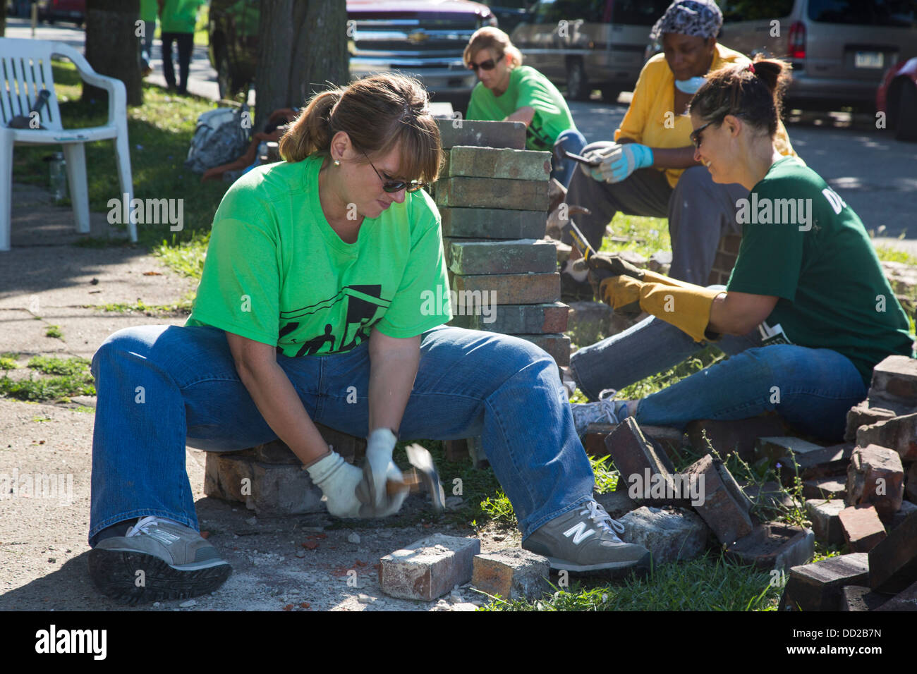 Volunteers participate in community improvement projects in Detroit Stock Photo
