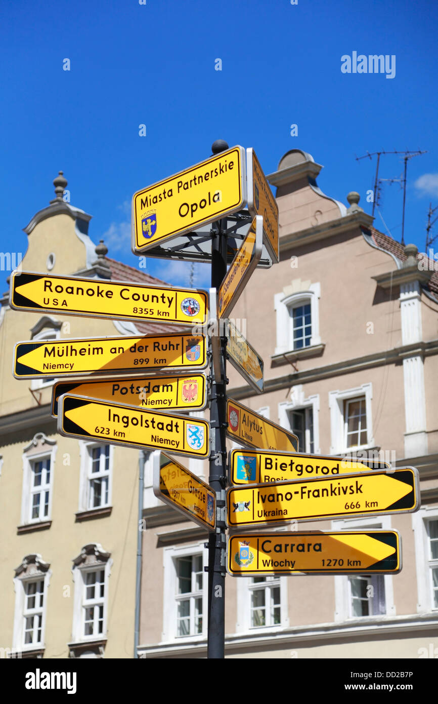 Road sign showing direction and distances to partnership cities, Rynek,  Market square, Opole, Silesia, Poland - Stock Image