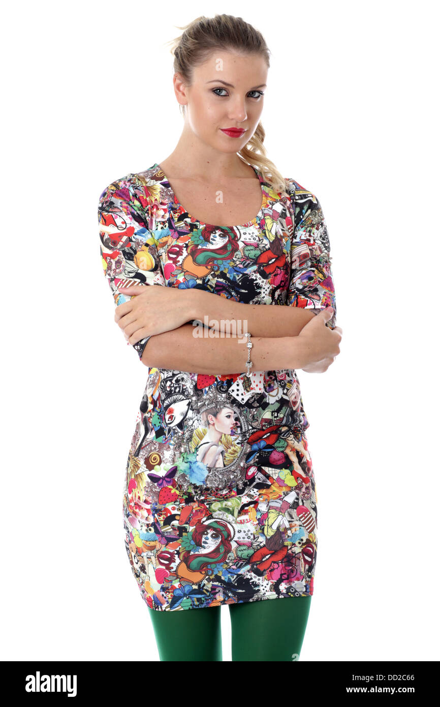 Model Released. Young Woman Modeling Tight Mini Dress - Stock Image