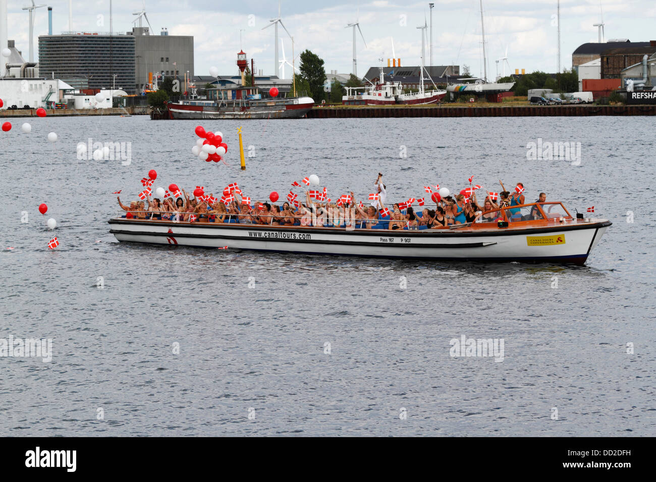 Copenhagen, Denmark, August 23, 2013. The Little Mermaid turns 100 today and Copenhagen throws her a party to celebrate - Stock Image
