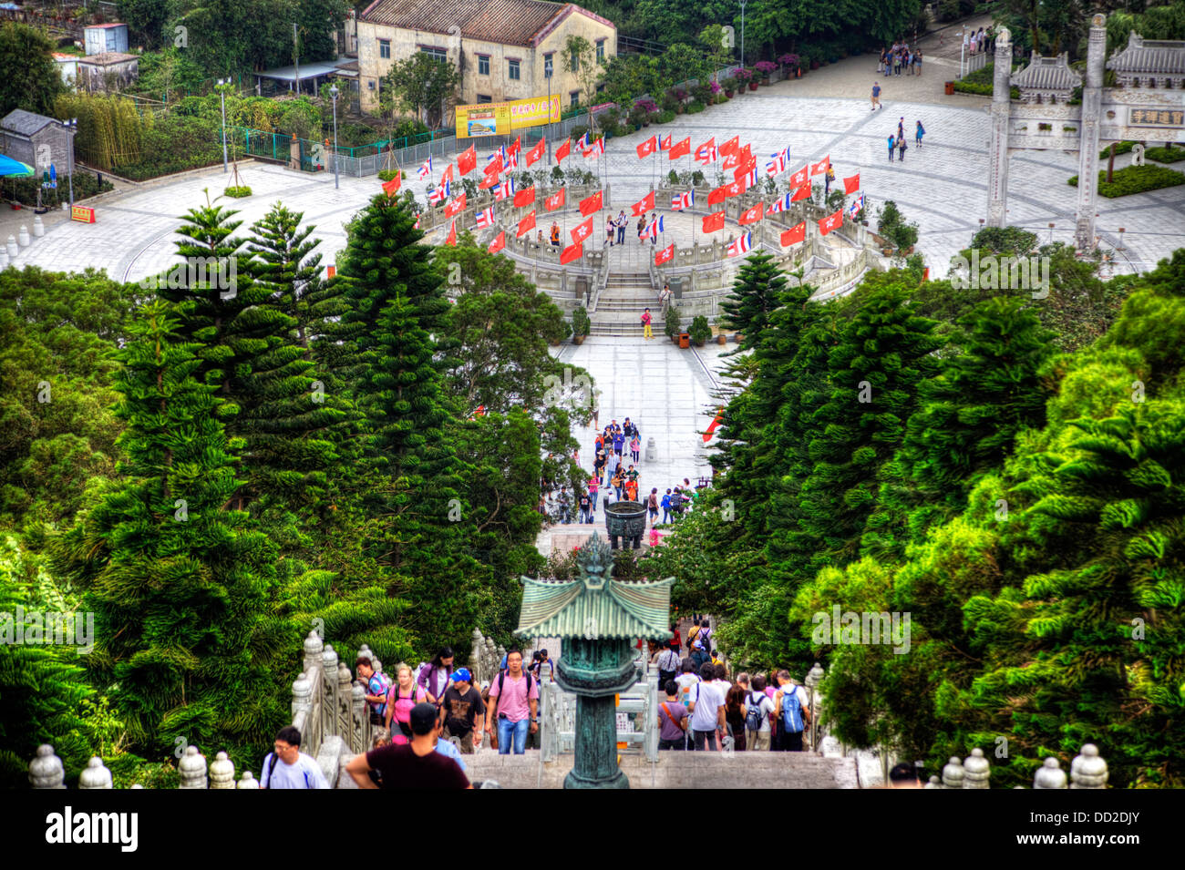Hong Kong, Lantau island the very steep steps that lead to the Po Lin Monastery at the bottom - Stock Image