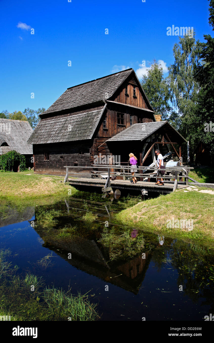 Watermill, Opole old Village Museum (Muzeum Wsi Opolskiej), Opole, Silesia, Poland - Stock Image