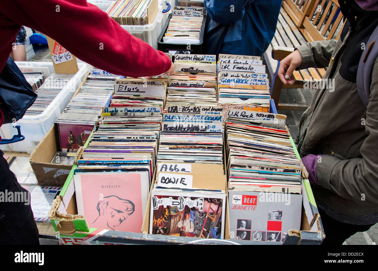 Secondhand records for sale on a stall in the Grassmarket during the annual Grassmarket Fair. - Stock Image