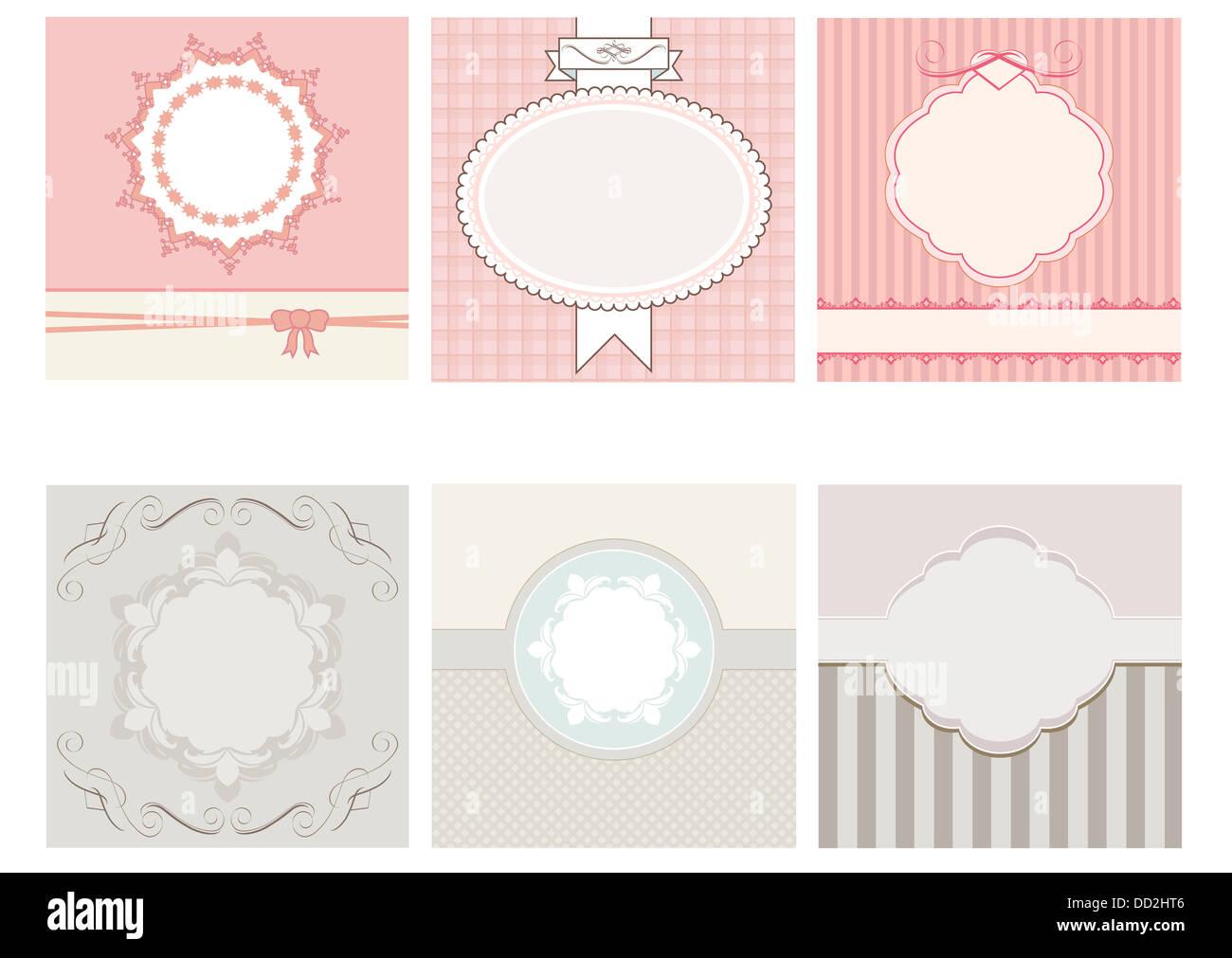 set of beige and pink  vintage frame - Stock Image