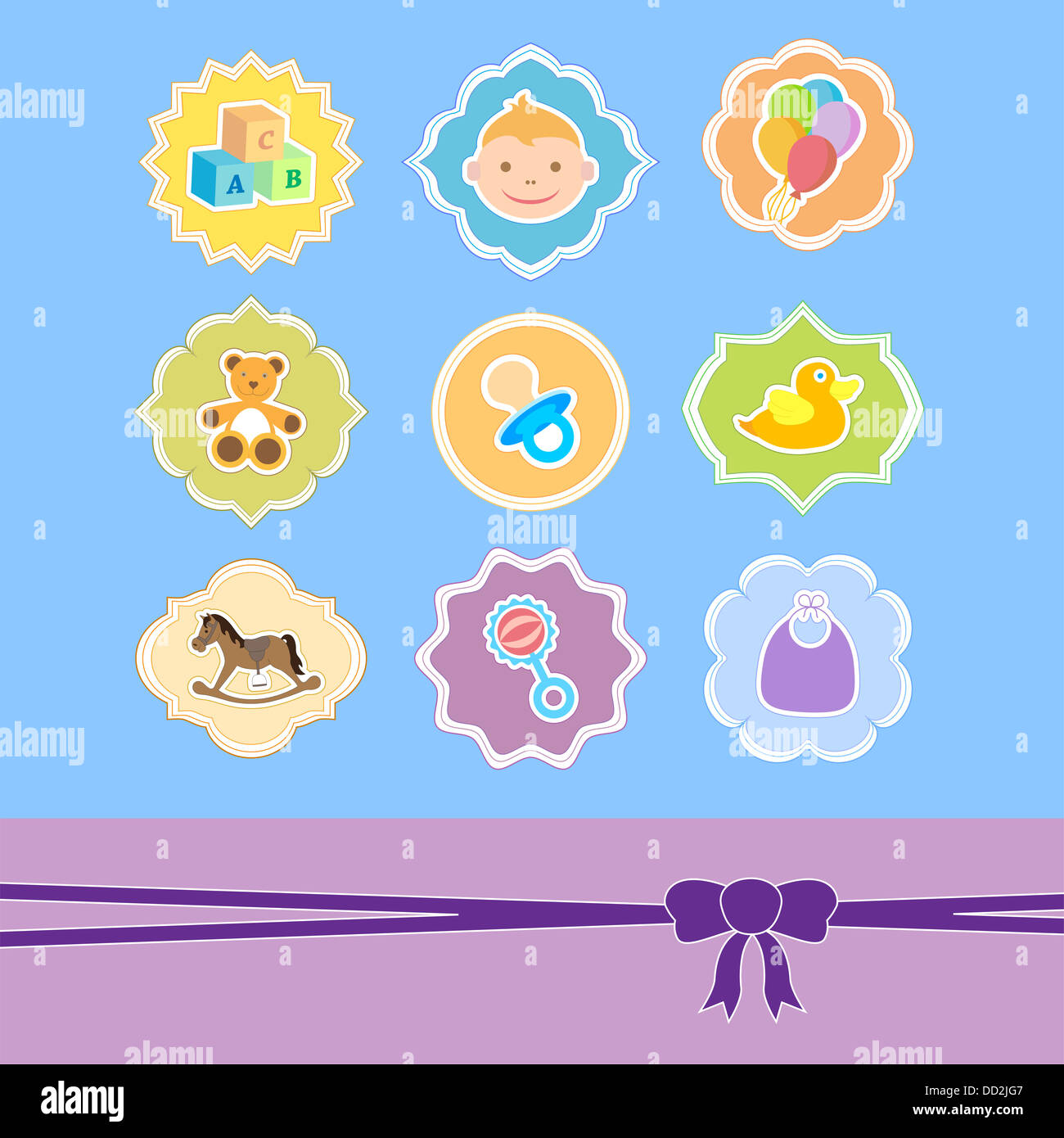 set baby icon in frame baby arrival announcement stock photo