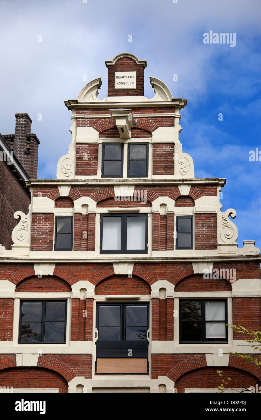 Dutch Renaissance style step gable of a historic house in Amsterdam, Holland, Netherlands. - Stock Image