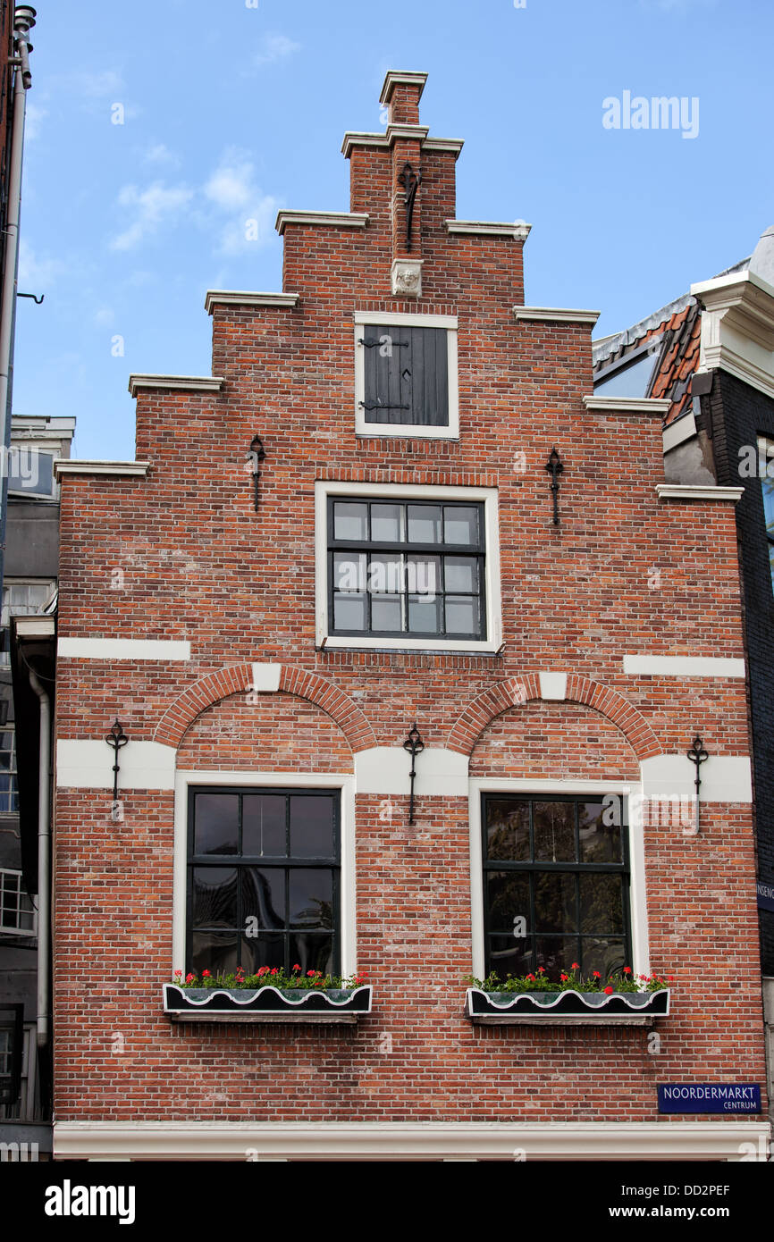 Dutch Renaissance Style Step Gable Of A Historic House In Amsterdam Holland Netherlands