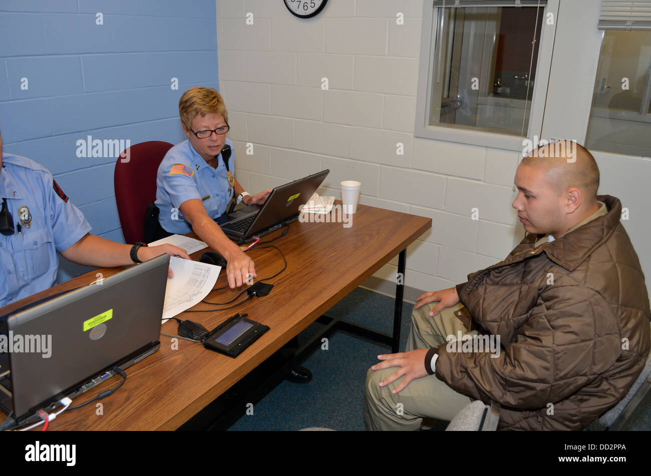 Disciplinary hearing for a juvenile inmate at the Nebraska Correctional Youth Facility in Omaha, Nebraska. - Stock Image
