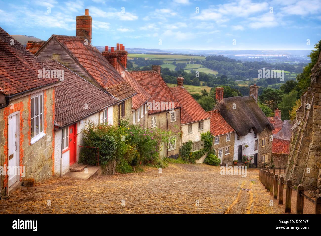 Shaftesbury, Gold Hill, Dorset, England, United Kingdom - Stock Image