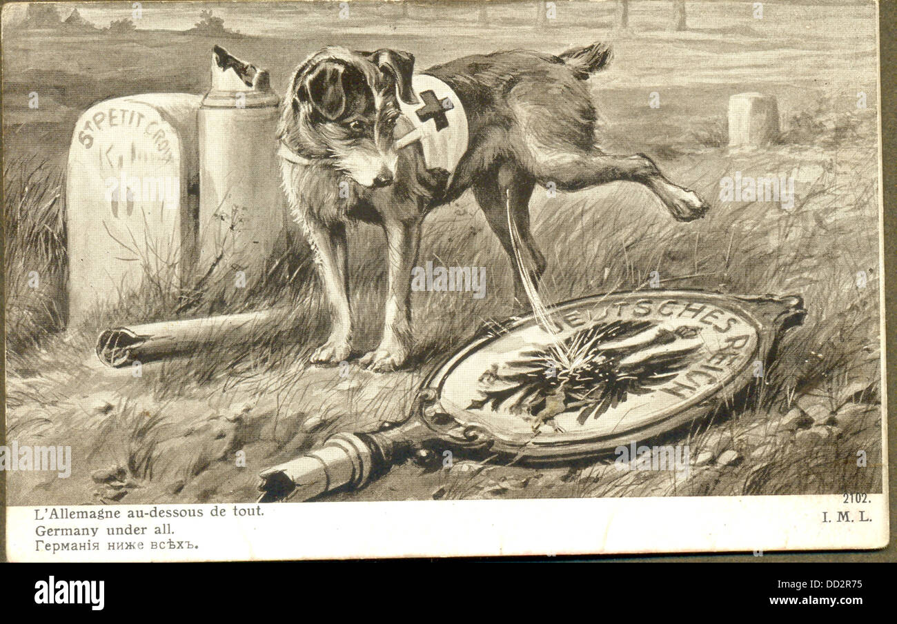World War One French Postcard Of Red Cross Dog Urinating On German
