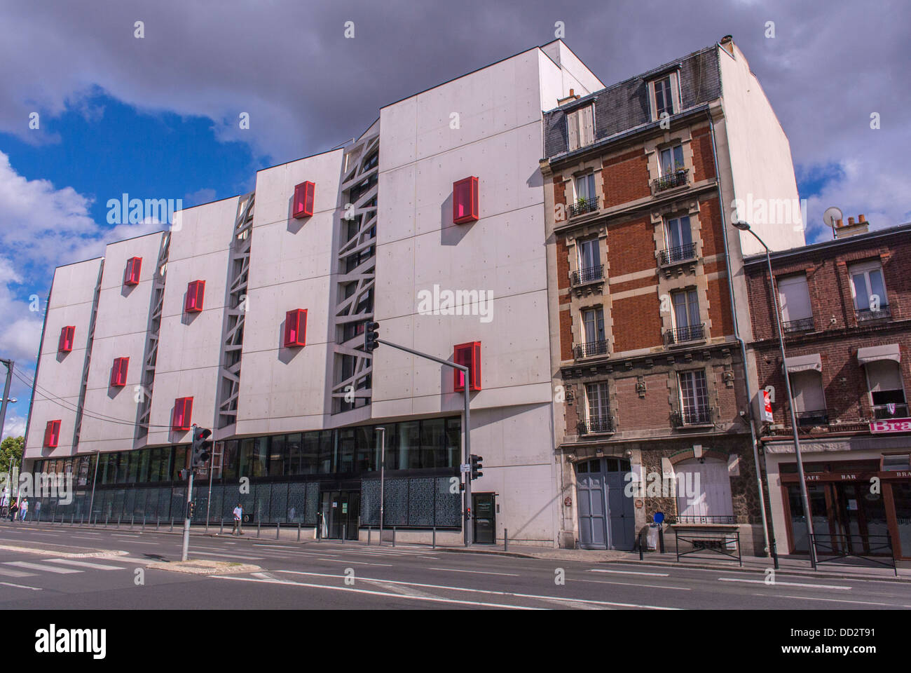 Clichy, France, Paris, Suburb, Contrast Old & New Architecture Buildings - Stock Image