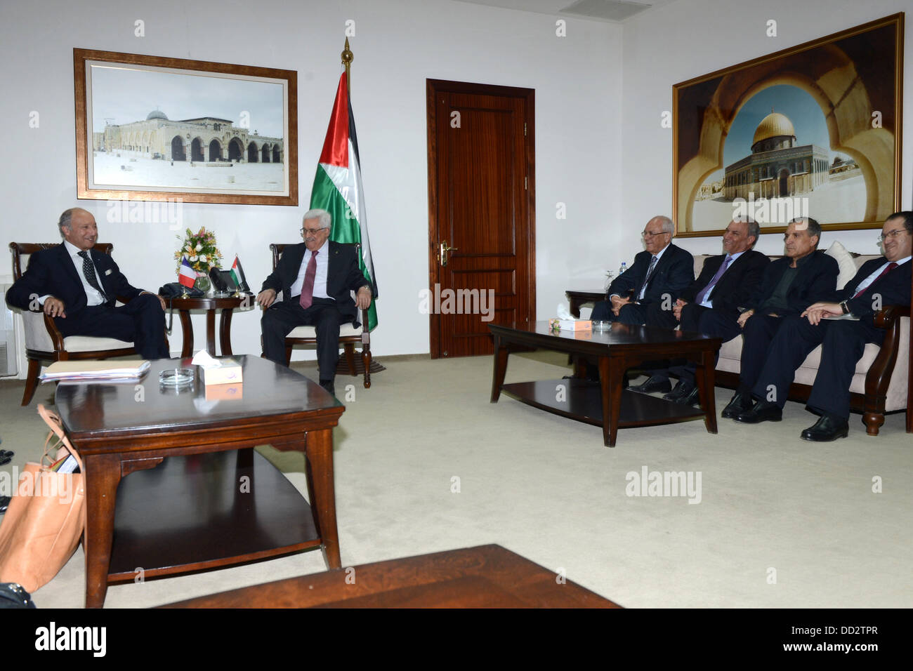 Ramallah, West Bank, Palestinian Territory. 24th Aug, 2013. French Foreign Affairs Minister Laurent Fabius meets - Stock Image