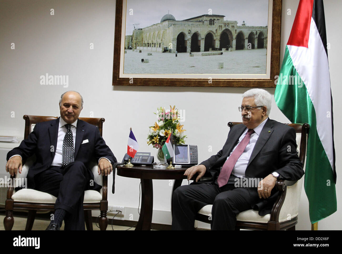 Ramallah, West Bank, Palestinian Territory. 24th Aug, 2013. French Foreign Affairs Minister Laurent Fabius (L) meets - Stock Image