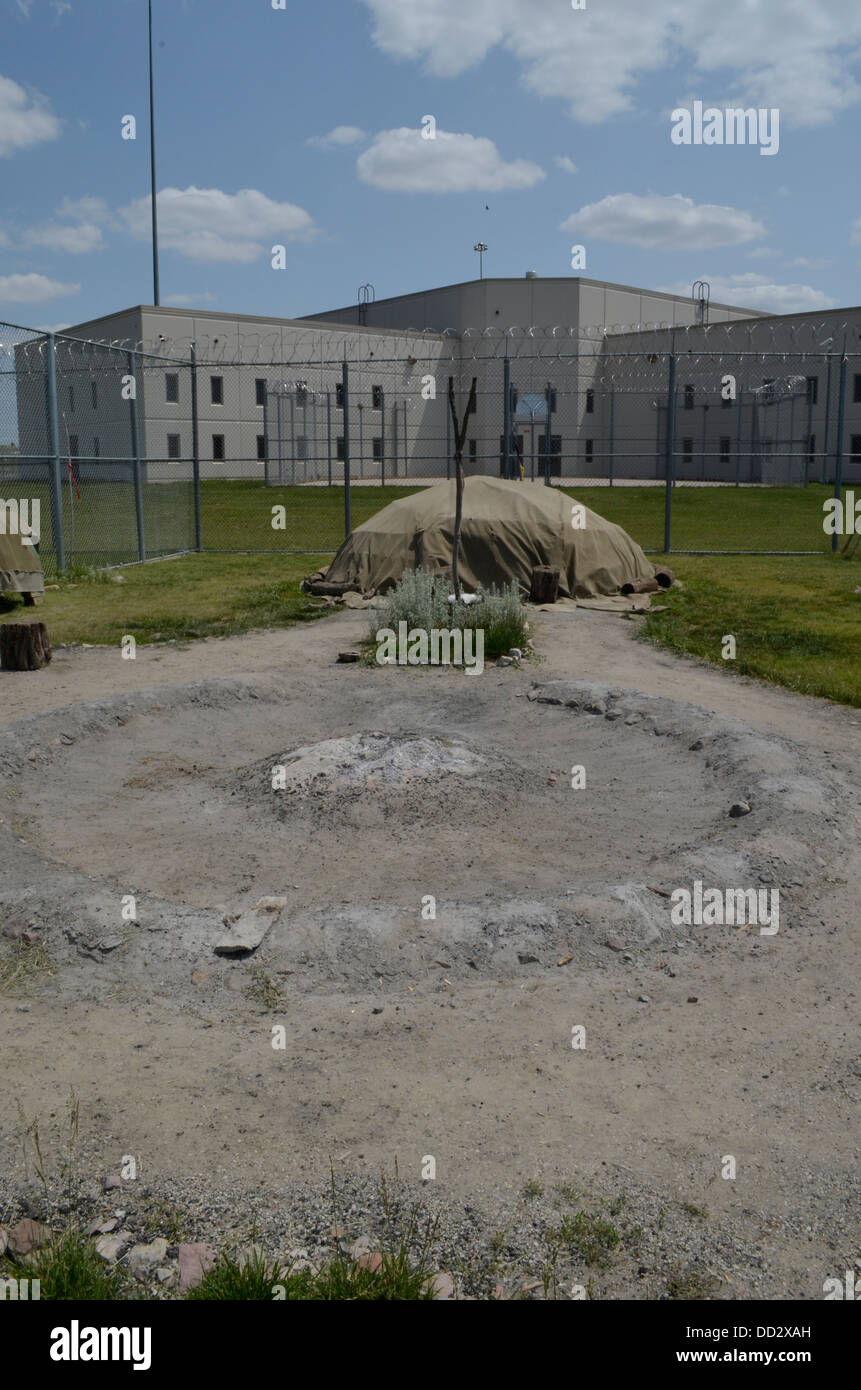 Religious land inside prison. For religions such as Asatru, Native American etc. Maximum security prison in Lincoln, - Stock Image