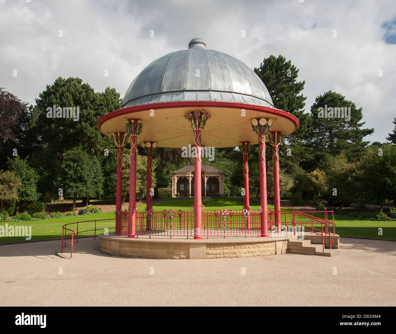 wrought iron victorian bandstand in saltaire bradford - Stock Image