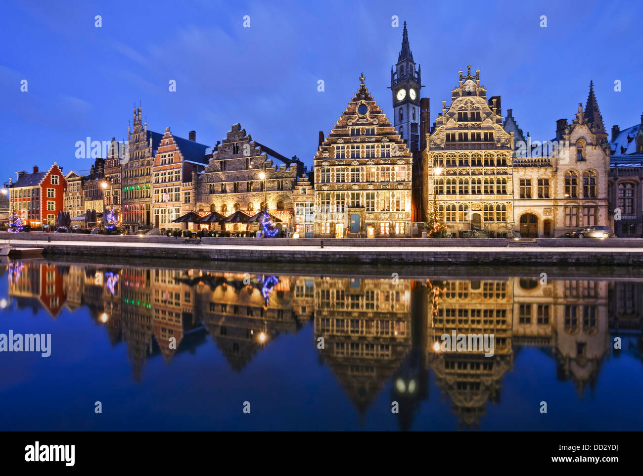 Guild houses along Graslei in the historic centre of Ghent, Belgium - Stock Image
